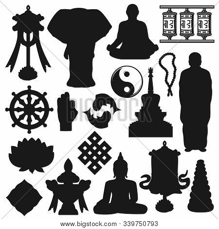 Buddhist religious icons, Buddhism religion and meditation symbols. Vector Buddhist monk in meditation, Yin Yang fish sign and swastika, Dharma wheel and temple drums, mudra hand and zen stones stock photo