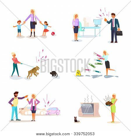 Set of bad luck and stressful situations. Feale character experiences stress in everyday life. hildren are naughty, the head scolds, an accident on the road, food burned. Flat Art Vector Illustration stock photo