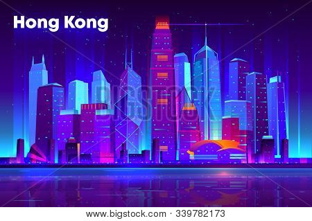 Hong Kong city nightlife cartoon banner, poster template. Modern asia metropolis downtown futuristic skyscrapers illuminated neon lights, reflecting in bay illustration. Cyberpunk background stock photo