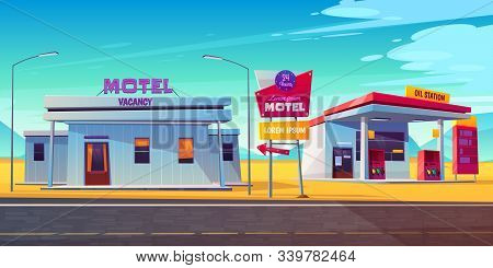 Roadside motel with parking, oil station and index signboard standing at wayside in day time. Noctidial comfortable hotel accommodation for traveling people. Car tourism. Cartoon illustration. stock photo
