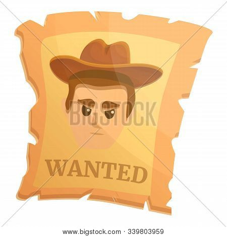 Wanted western paper icon. Cartoon of wanted western paper vector icon for web design isolated on white background stock photo