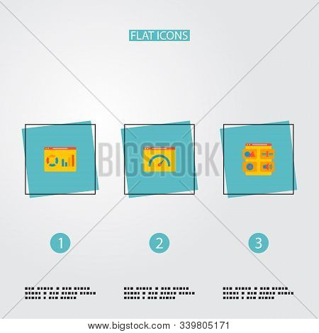 Set of website icons flat style symbols with website analytics, website performance, website content and other icons for your web mobile app logo design. stock photo