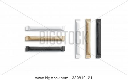 Blank black, white and craft sugar packet mockup, horizontal vertical, 3d rendering. Empty tea or coffee sweetener bag mock up isolated, top view. Clear disposable stick for sweet powder template. stock photo