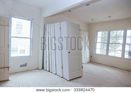 Under construction, remodeling installing material new home for repairs in apartment remodeling stock photo