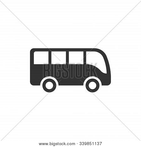 Bus icon in flat style. Coach vector illustration on white isolated background. Autobus vehicle business concept. stock photo