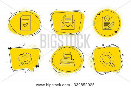 Checked file, Recovery data and Search signs. Chat bubbles. Typewriter, Mail correspondence and Rfp line icons set. Instruction, E-mail newsletter, Request for proposal. Correct document. Vector stock photo