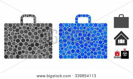 Case composition of filled circles in various sizes and color tints, based on case icon. Vector filled circles are composed into blue composition. Dotted case icon in usual and blue versions. stock photo