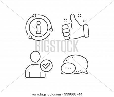 Checked User line icon. Chat bubble, info sign elements. Profile Avatar with Tick sign. Person silhouette symbol. Linear identity confirmed outline icon. Information bubble. Vector stock photo