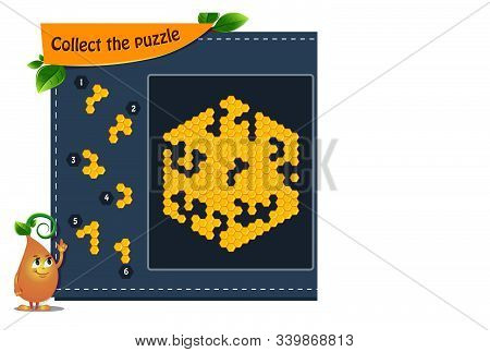educational game iq for kids and adults development of logic, iq. Task game collect the puzzle honeycombs. Printable page for brainteaser book. stock photo
