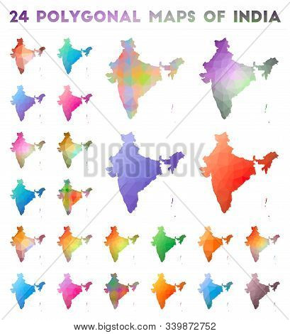 Set of vector polygonal maps of Spain. Bright gradient map of country in low poly style. Multicolored Spain map in geometric style for your infographics. stock photo
