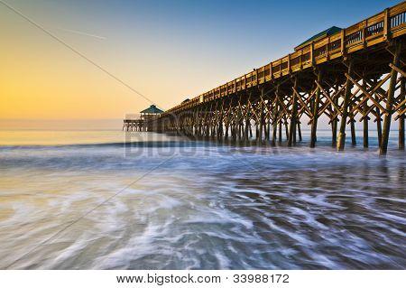 Folly beach pier charleston sc côte atlantique pastel sunrise