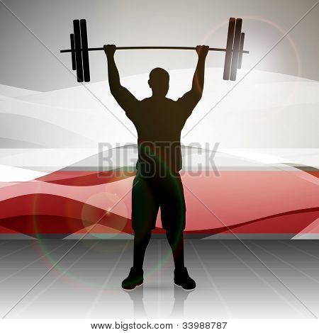 Silhouette of a weight lifter with heavy weight on abstract red wave background. EPS 10. stock photo