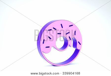Purple Donut with sweet glaze icon isolated on white background. 3d illustration 3D render stock photo