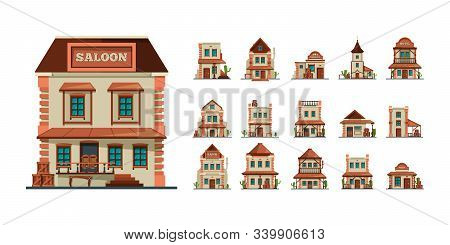 Western buildings. Wildlife west construction saloon country market banks american old houses vector flat style pictures. Illustration western saloon and architecture west american stock photo