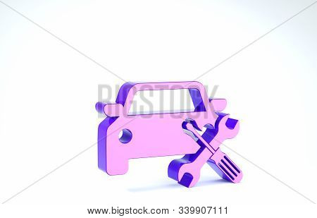 Purple Car with screwdriver and wrench icon isolated on white background. Adjusting, service, setting, maintenance, repair, fixing. 3d illustration 3D render stock photo
