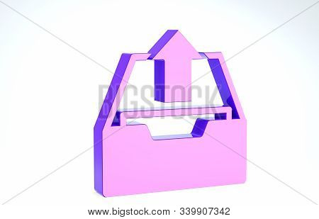 Purple Upload inbox icon isolated on white background. Extract files from archive. 3d illustration 3D render stock photo