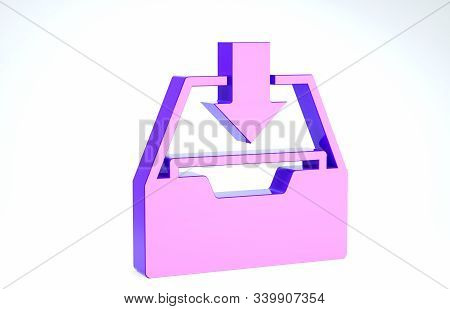 Purple Download inbox icon isolated on white background. Add to archive. 3d illustration 3D render stock photo
