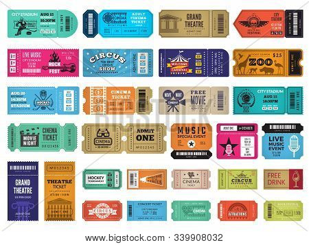 Event Tickets. Circus Cinema Theatre Sport Event Entrance Invitation Coupon Concert Admission Vector