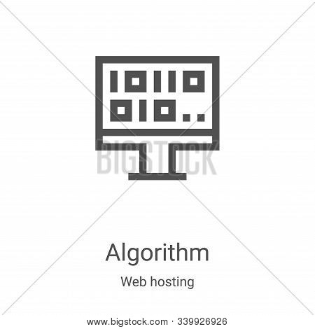 algorithm icon vector from web hosting collection. Thin line algorithm outline icon vector illustration. Linear symbol for use on web and mobile apps, logo, print media stock photo