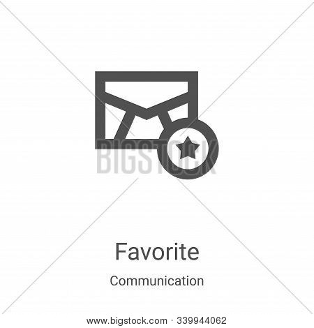 favorite icon vector from communication collection. Thin line favorite outline icon vector illustration. Linear symbol for use on web and mobile apps, logo, print media stock photo