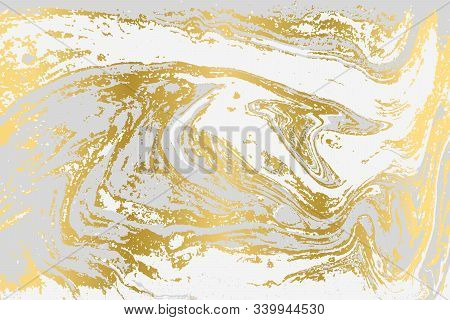 Gray and gold agate ripplle pattern. Pale beautiful marble background. stock photo
