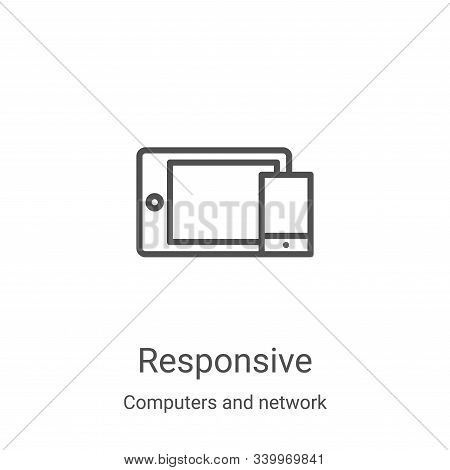 responsive icon vector from computers and network collection. Thin line responsive outline icon vector illustration. Linear symbol for use on web and mobile apps, logo, print media stock photo