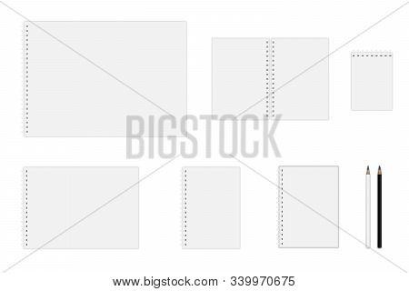 Vector notebook mockup (A3, A4, A5, A6), hardcover notebook, pencils stock photo