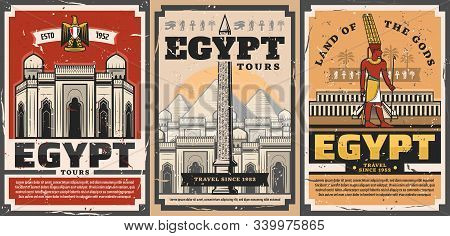 Ancient Egypt travel trips and landmarks sightseeing tours retro vintage posters. Vector ancient Egypt city and culture tourism, Giza pharaoh pyramids and Cairo mosques architecture stock photo