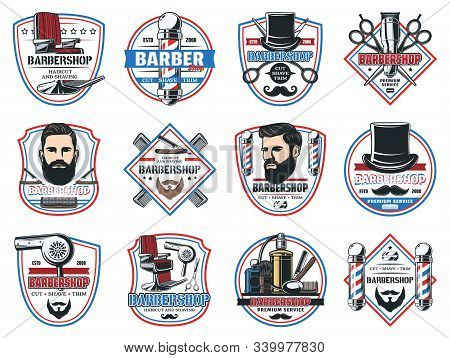 Barbershop salon, gentleman and hipster barber shop hairdresser premium signs. Vector icons of beard and mustaches, barber shop chair, shaving razor blade, hair comb and barber scissors stock photo