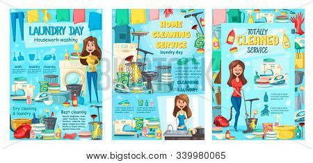 Clean house service, dry cleaning and laundry, kitchen dish washing and housekeeping. Vector housewife cleaning and mopping floor, ironing clothing, sewing needlework, detergents and sponges stock photo