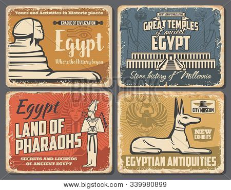 Ancient Egypt travel trips and Cairo landmarks tours retro vintage posters. Vector ancient Egypt pharaoh pyramids, Sphinx and Egyptian god temples sightseeing, antiquity museum and souvenirs shop stock photo