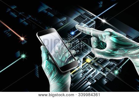 Artificial Intelligence and Machine Learning Concept. Neural networks and another modern technologies concepts. Robot finger, robo advisor, Big data, robotic future technology and business concept. Technology sci-fi concept, hi tech. stock photo