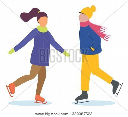 Woman and man on date doing winter outdoor activity. People skating on ice rink together. Lady and guy spend time actively on holidays. Winter time, people isolated on white. Vector illustration flat stock photo