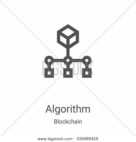 algorithm icon vector from blockchain collection. Thin line algorithm outline icon vector illustration. Linear symbol for use on web and mobile apps, logo, print media stock photo
