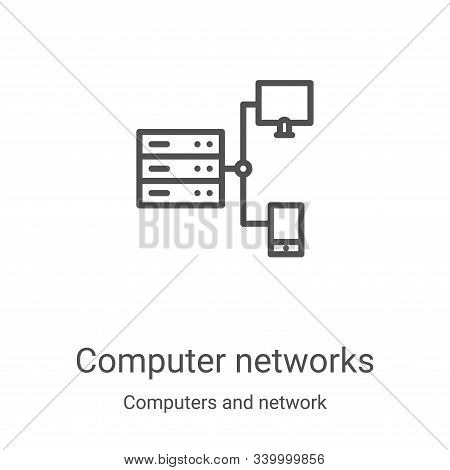 computer networks icon vector from computers and network collection. Thin line computer networks outline icon vector illustration. Linear symbol for use on web and mobile apps, logo, print media stock photo