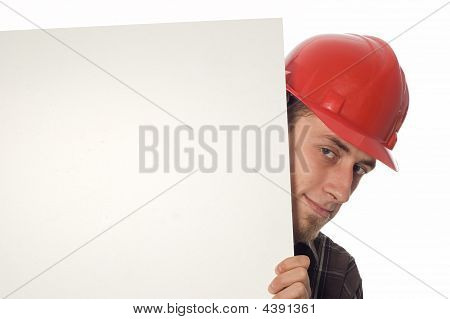 photo of casual worker over white background stock photo