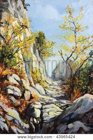 Chemin de marbre à l'automne