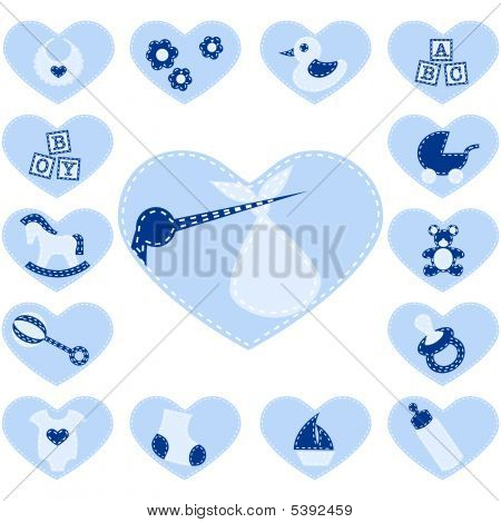 15 Adorable baby buttons that look like quilt patches. Graphics are grouped and in several layers for easy editing. The file can be scaled to any size. stock photo