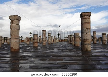 Pillar of the mausoleum of Mohammed V. in Rabat stock photo