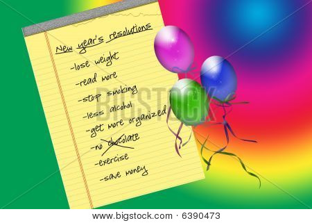 New Year's resolution with colorful balloons on gradient background. stock photo