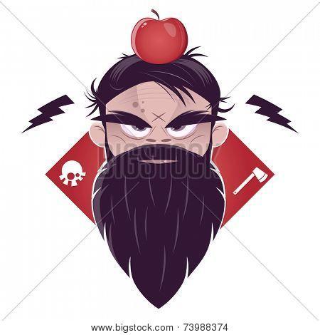 evil man with a long beard and an apple on his head stock photo