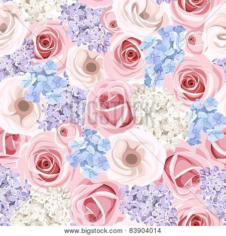 Seamless pattern with pink roses and lilac flowers. Vector illustration.