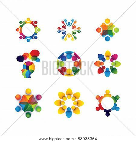 Collection Of People Icons In Circle - Vector Concept Unity, Solidarity
