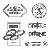 Vector set of automaton flying club names, identifications, plan components.