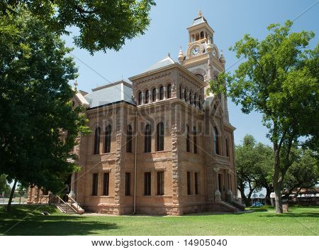 Llano County courthouse built in 1893 in the Romaneque revival architectural style and still in use. Named an Historic Texas Landmark. stock photo