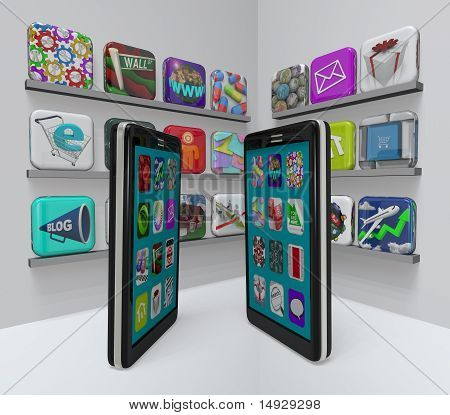 Two smart phones stand in an app store perusing the marketplace for new apps to download stock photo