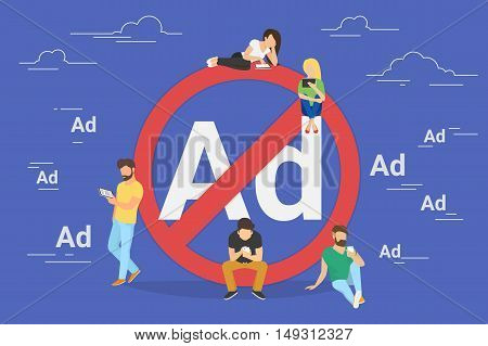 Mobile ad prohibition concept illustration of young people using mobile gadgets for networking and using internet without ads. Flat design of guys and women standing near big red sign stock photo