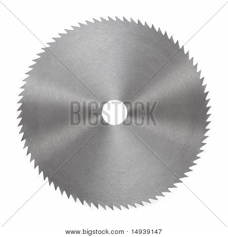 Circular saw blade for wood isolated on white stock photo