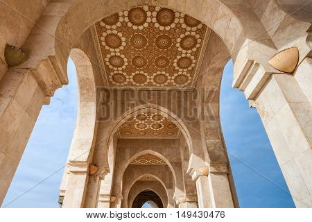 Design elements of the Hassan II Mosque in Casablanca Morocco. Hassan II Mosque is the 7-th largest mosque in the world. stock photo
