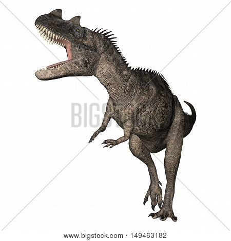 3D rendering of a dinosaur Ceratosaurus isolated on white background stock photo